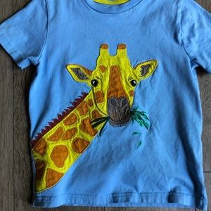 Boys Mini Boden Giraffe Appliqué Shirt SZ 5-6 yrs